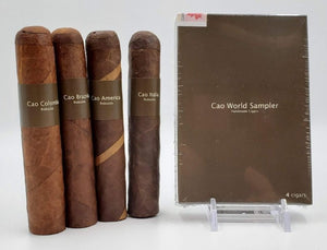 A 4 Pack CAO World Sampler ! This package contains 4 Robustos. Colombia Vallenato, Brazilia Gol!, America Potomac & Italia Ciao.
