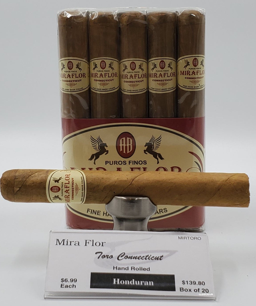 A Bundle of 20 Alec Bradley Mira Flor Toro Connecticut. Pay ONLY $6.29 per Cigar. Sorry NOT eligible for FREE mail order shipping,Free Local Home Delivery available.