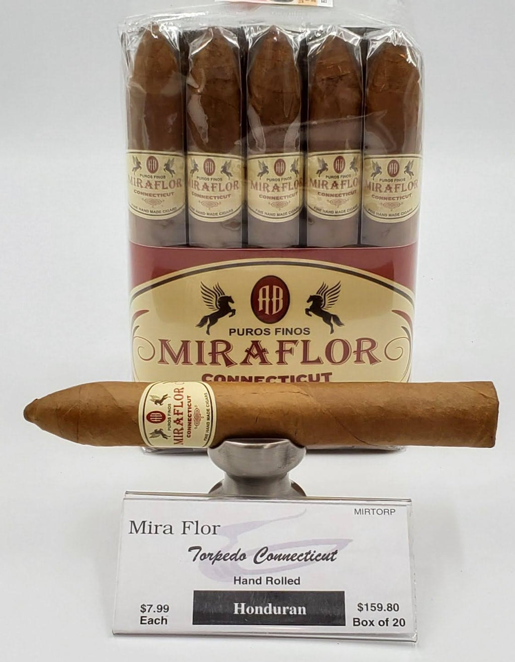 A Bundle of 20 Alec Bradley Mira Flor Torpedo Connecticut. Pay ONLY $7.19 per Cigar. Sorry NOT eligible for FREE mail order shipping,Free Local Home Delivery available.