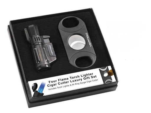 Vertigo Cyclone 3 Lighter & 64 Ring Gauge Cutter Set. - The Smokin' Cigar Inc. Vertigo Lighters