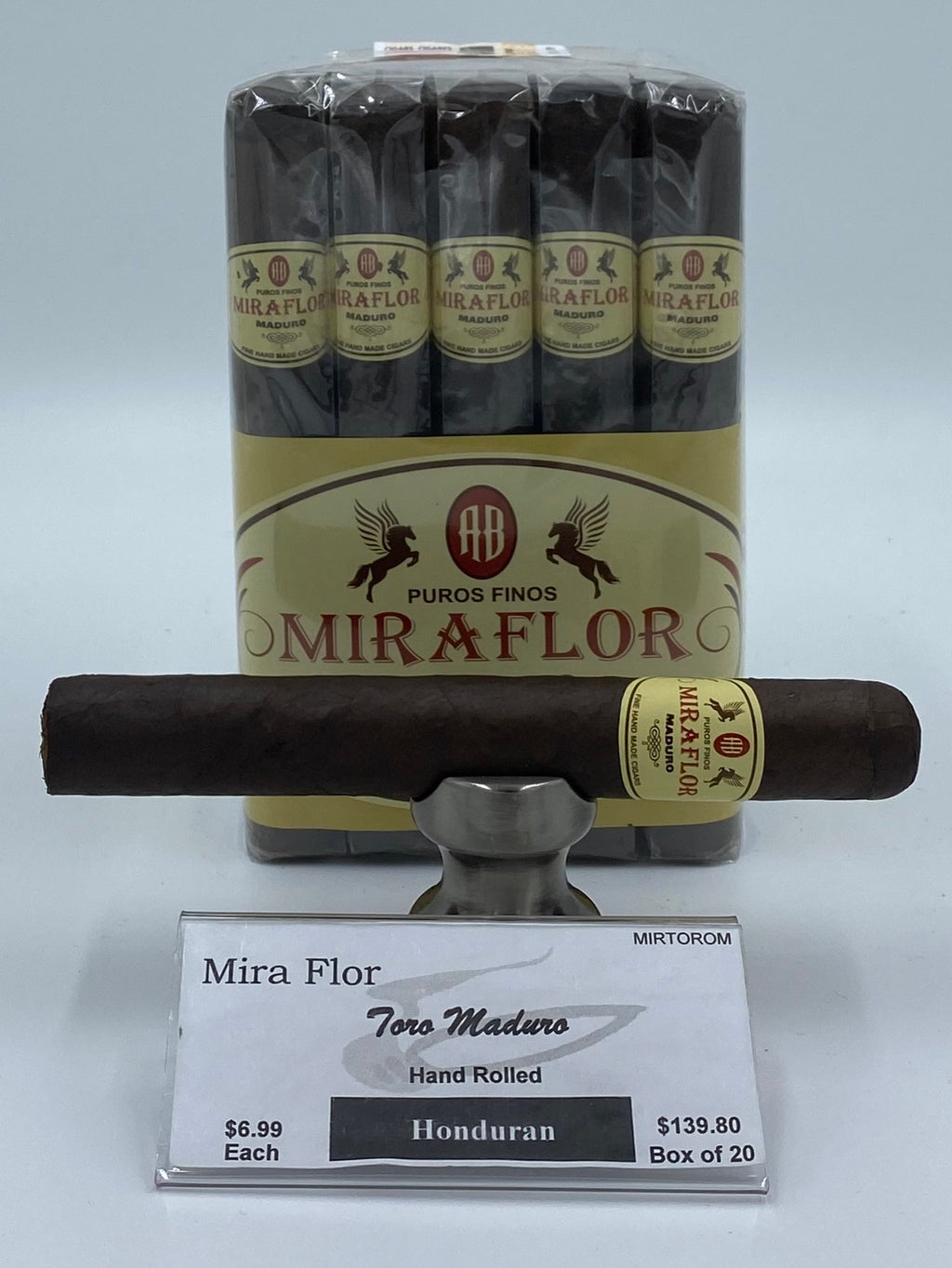 A Bundle of 20 Alec Bradley Mira Flor Toro Maduro. Pay ONLY $6.29 per Cigar. Sorry NOT eligible for FREE mail order shipping,Free Local Home Delivery available.