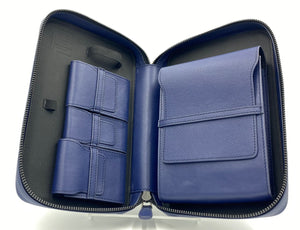 "Project Carbon Leather Cigar Case ""Optimus Blue"""