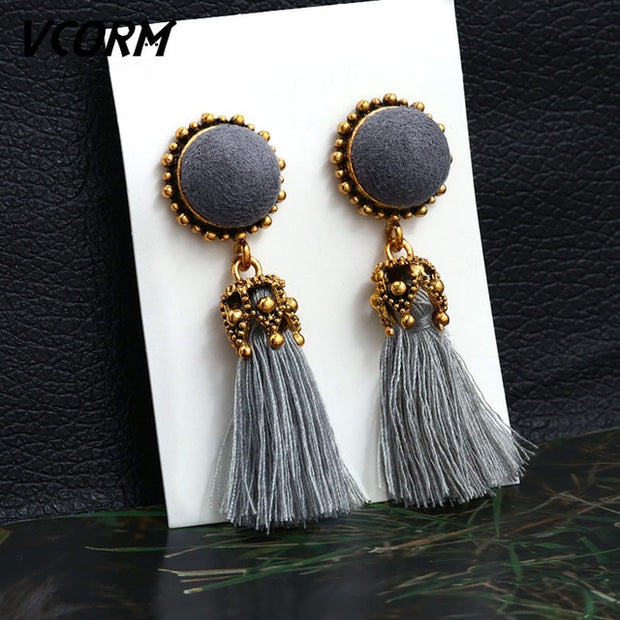 Long Drop Tassel Earrings for Women Red Cotton Silk Fabric Jewelry