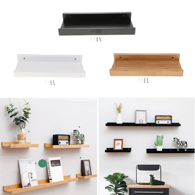 Wooden Floating Modern Shelves Trays Bookshelves Display Bookcase