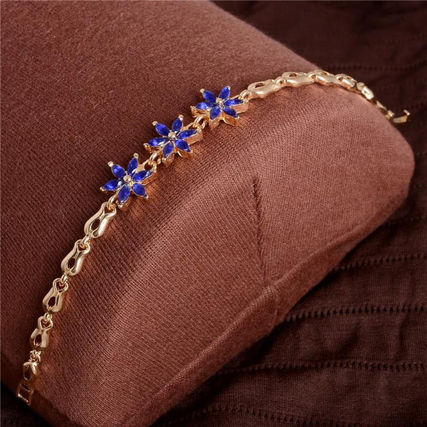 Women Beautiful Bracelet for Colorful Austrian Crystal Fashion Heart Chain
