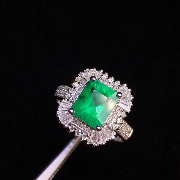 Jewelry Women Ring Real 18K Yellow Gold 1.52ct Emerald Natural Diamond