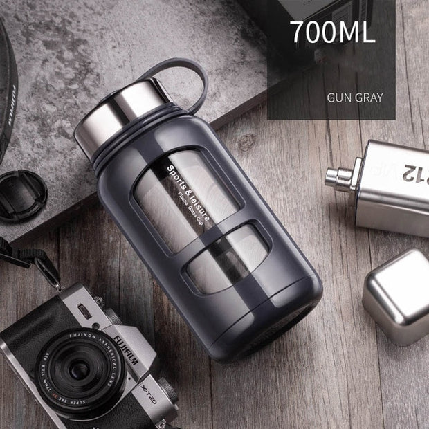 700ml 1000ml Leak Proof Portable Glass Water Bottle