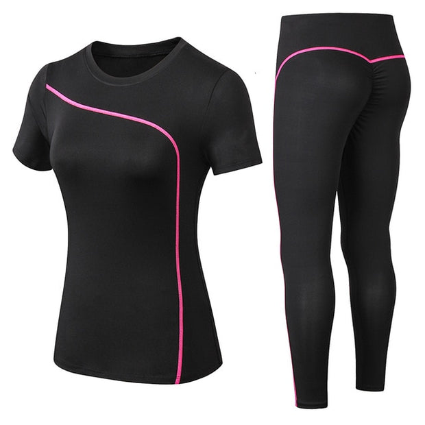 Female Short-sleeved long Pants Outdoor Sportswear Fitness Outfit