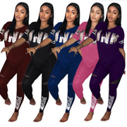 Women Letter Print Pink fashion Sprotwear Suit Set Tracksuit Two-piece Sport