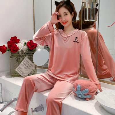 New Women V-collar Winter 2 Pieces Pajamas Set