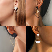 Women Geometric Round Heart Gold Earring Wedding Jewelry