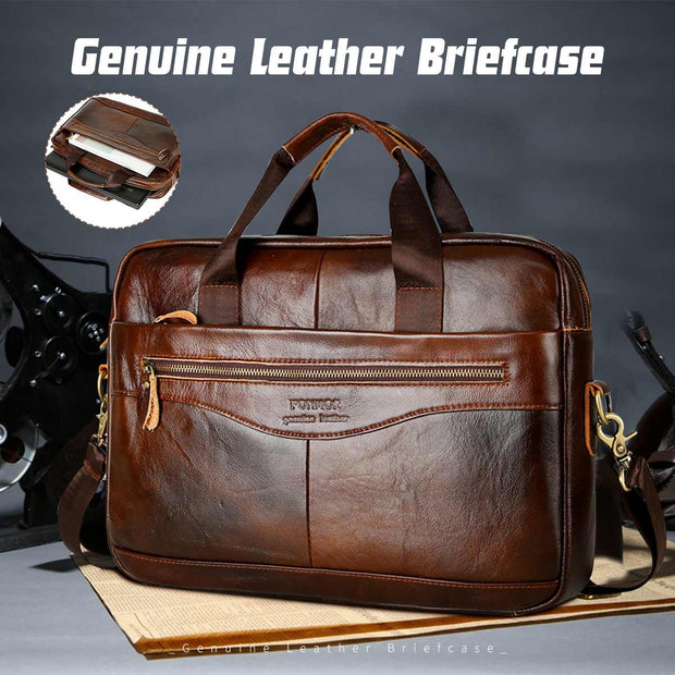 Men's Cowhide Genuine Leather High Quality Hand Crossbody laptops Bags Briefcase