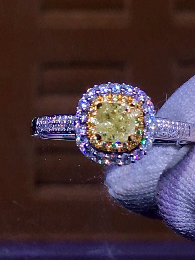 Jewelry Diamond Ring 0.50ct18K White Gold Real Natural Yellow Wedding Engagement Rings