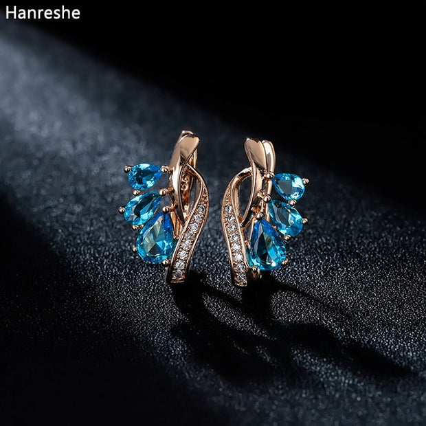 Rose Gold Crystal Stud Earrings Party Blue Stone