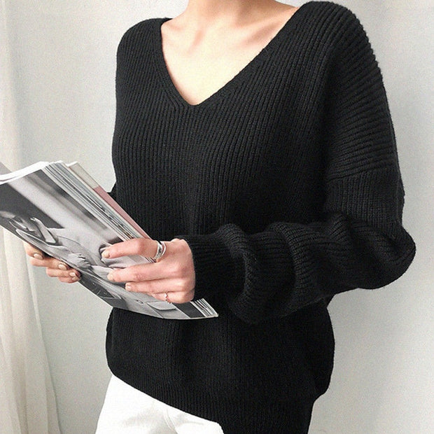 Womens Cashmere Sweaters Autumn Winter V Neck Solid Long Sleeve Loose Knitted Cashmere Top