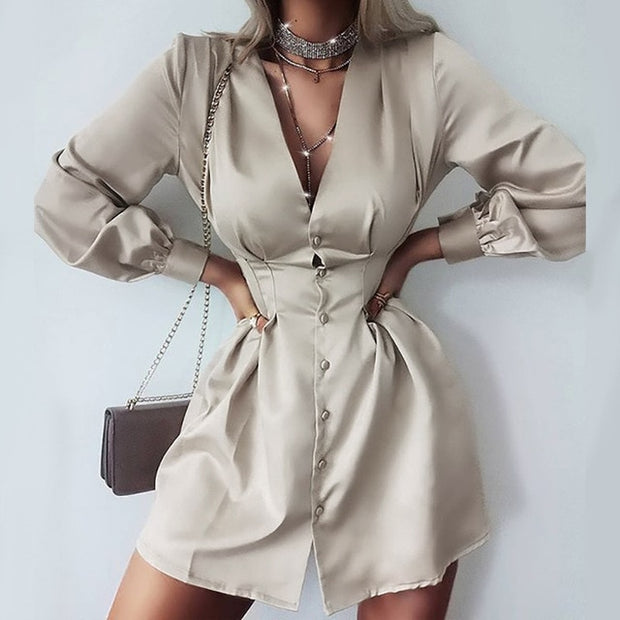 Women Dress Elegant Solid Office Buttons Mini Dress Spring Autumn Long Party Dress