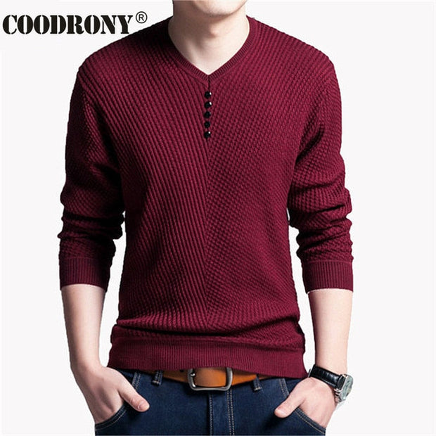 Men Sweater Casual Autumn Slim Fit Long Sleeve Shirt Knitted Cashmere Wool
