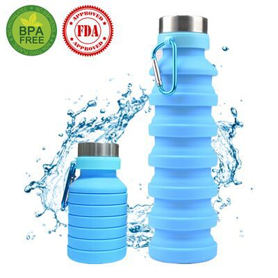 550ml Outdoor Sports Silicone Foldable Water Bottle