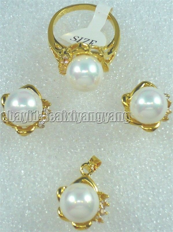 Jewelry Set Yellow Gold Plate White Shell Pearl CZ Pendant Earring Ring