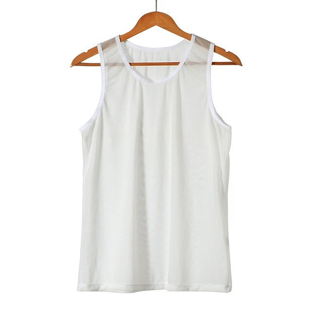 Men's Casual Clothing Fitness Tank Top Sleeveless Summer Vest Transparent Outfits
