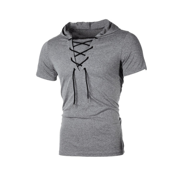 Men Casual Short Sleeve Hoodie T-shirt Summer Fitness Workout Top