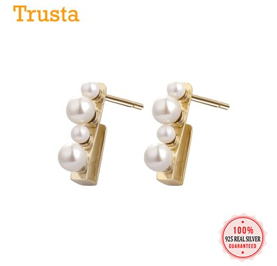 Luxury 100% 925 Sterling Silver Gold Synthesis Pearl Stud Earring