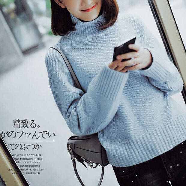 Women Sweater 100% Cashmere Wool Knit Plus Size Pullovers Thick Warm Woolen Tops