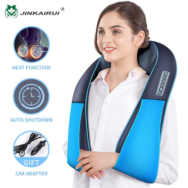 Electrical Shiatsu Massager Shawl Roller Neck Shoulder Heat Multi-function Massager