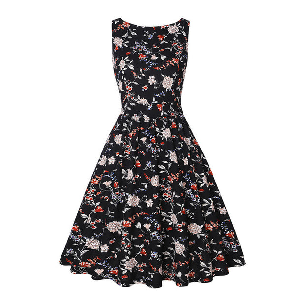 Daily suit OWLPRINCESS The new 2020 women's clothing collar sleeveless printed retro dress