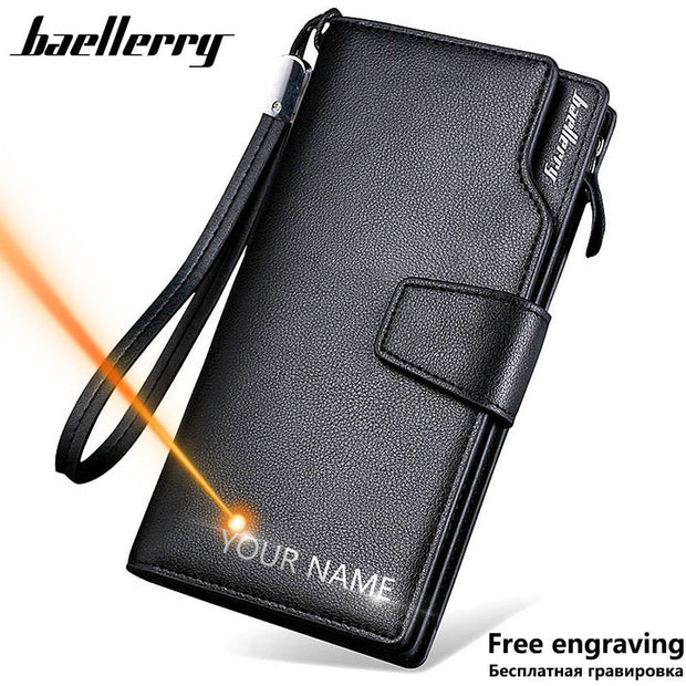 Men Leather Zipper Wallet Long Style High Quality Card Holder