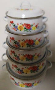 5 Pots Set Enamel Pot for Cooking Casserole Enamel Ceram Kitchen Pot 1-4Litre