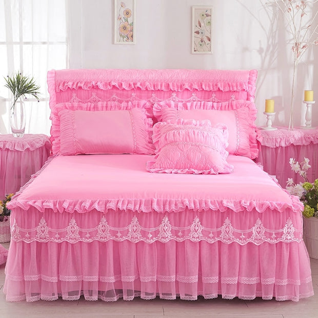 1 Pc Lace Princess Bed Spread Skirt +2 Pillow cases