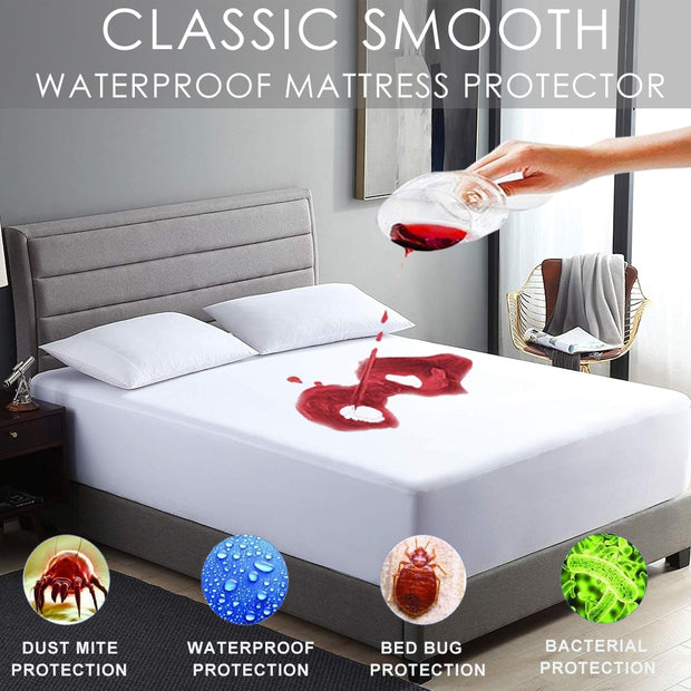 Mattress Cover Waterproof Stain Resistant Bug Proof Washable Hypoallergenic