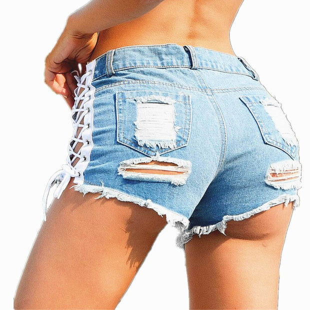 Women Sexy Hole Denim Shorts Tie Side Open Split