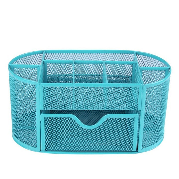 9 Cell Metal Mesh Desk Organizer Desktop Pencil Pen Sundries Badge Holder Storage