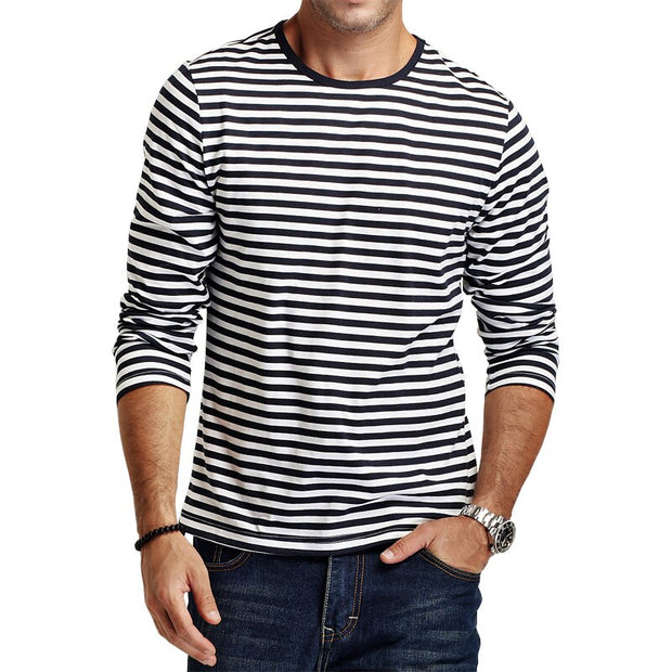2020 New fashion Autumn Casual Striped Men T Shirt Long Sleeve Slim Fit