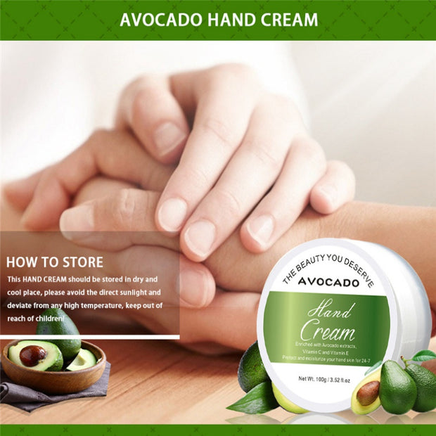 Avocado Hand Cream Moisturizing Exfoliation Smooth Fine Lines Anti-drying Hand Care