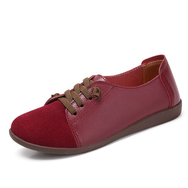 Women Summer Spring Genuine Leather Flats Shoes Lace-Up Casual