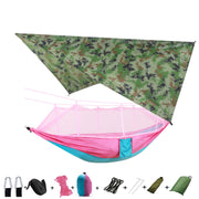 Portable Camping Nylon Hammock with Mosquito Net and Rain Fly Tarp 2 Person