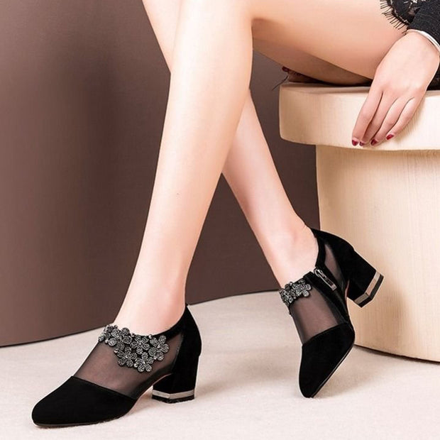 Women Spring Summer Party Shoes Crystal Lace Zip Mesh Pumps High Heels