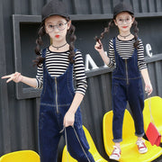 Girls Teen Toodler Kid Spring Summer Autumn Casual Clothes Set Striped Shirt+Jumpsuit