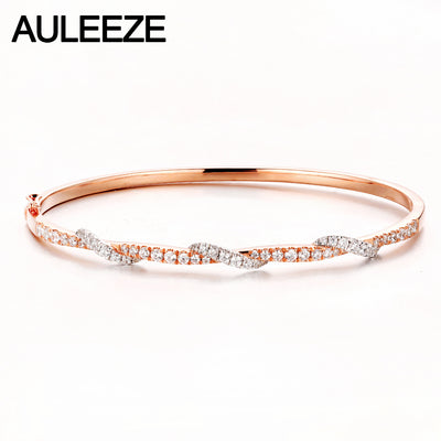 14K Real Rose White Gold Diamond Lady Bangle Bracelet