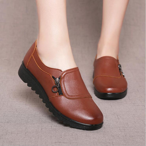 Women Casual Flats Soft Leather Side Zipper Oxford Shoes