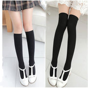 Spring Summer Ladies Long Solid Color Calf Knee Socks