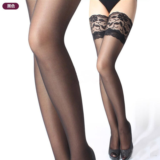 1pair Sexy  Thigh High Stockings Womens Girls Ladies Lace Top Stay Up