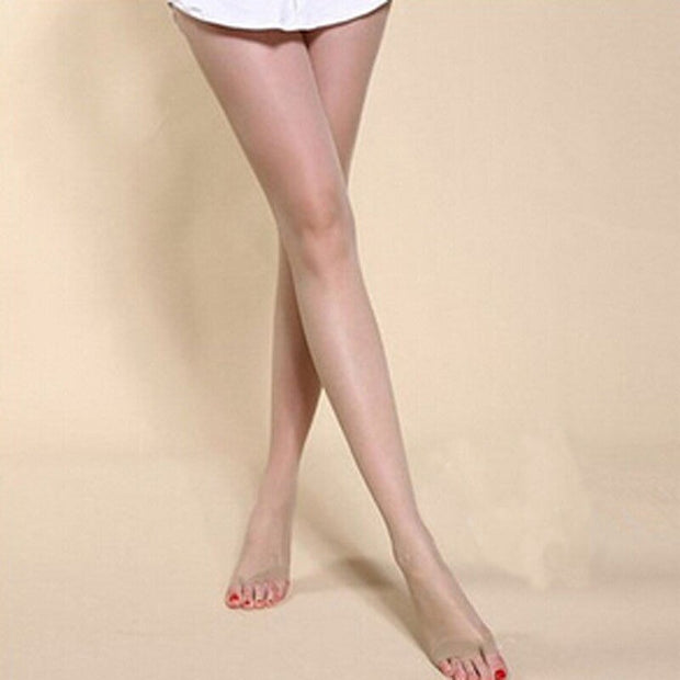 Summer Open Toe Ladies Stretchy Anti-off Silk Cored Pantyhose Stockings