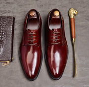 Men Black Wine Red Oxford Luxury Business Genuine Cow Leather Designer Shoes