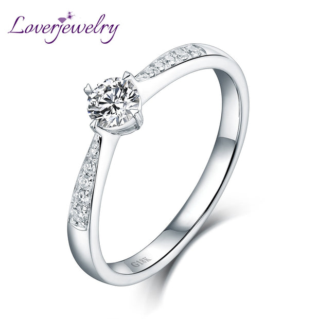 Proposal Wedding Gift Diamond Ring Genuine18K White Gold Ring