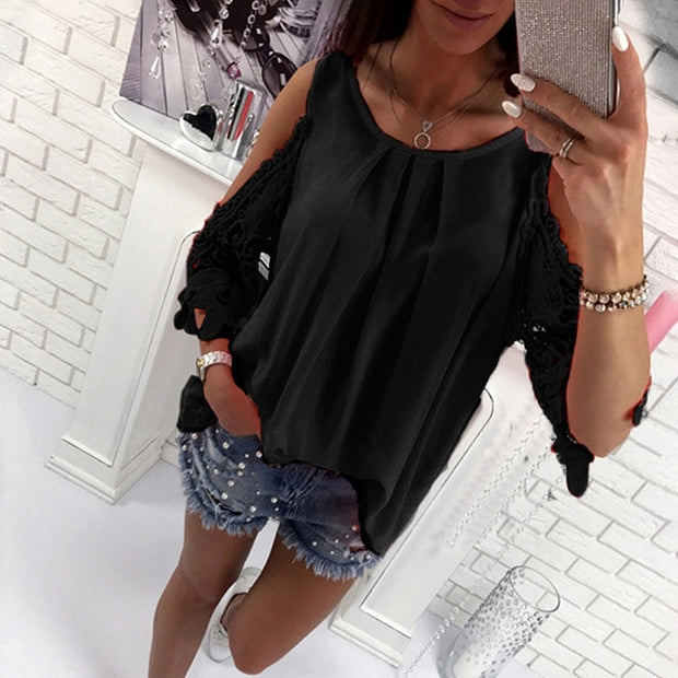 Ladies Blouse Fashion Womens Off Shoulder Summer Hot Top
