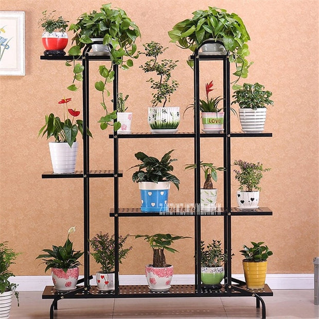 Wheeled Balcony Indoor Outdoor Multi-layer Landing Plant Flower Pot Stand Garden
